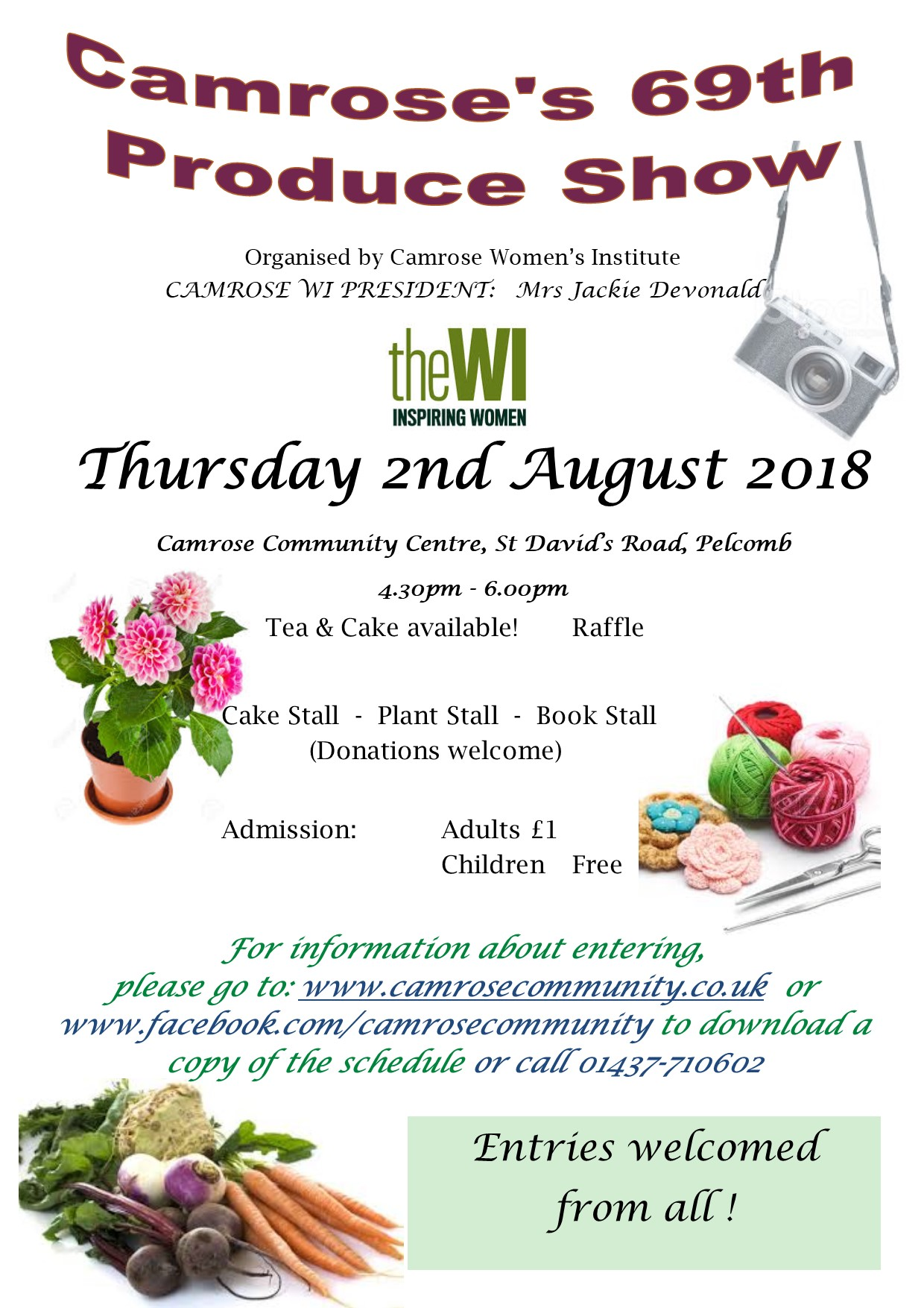 Thursday 2nd August - Camrose Produce Show