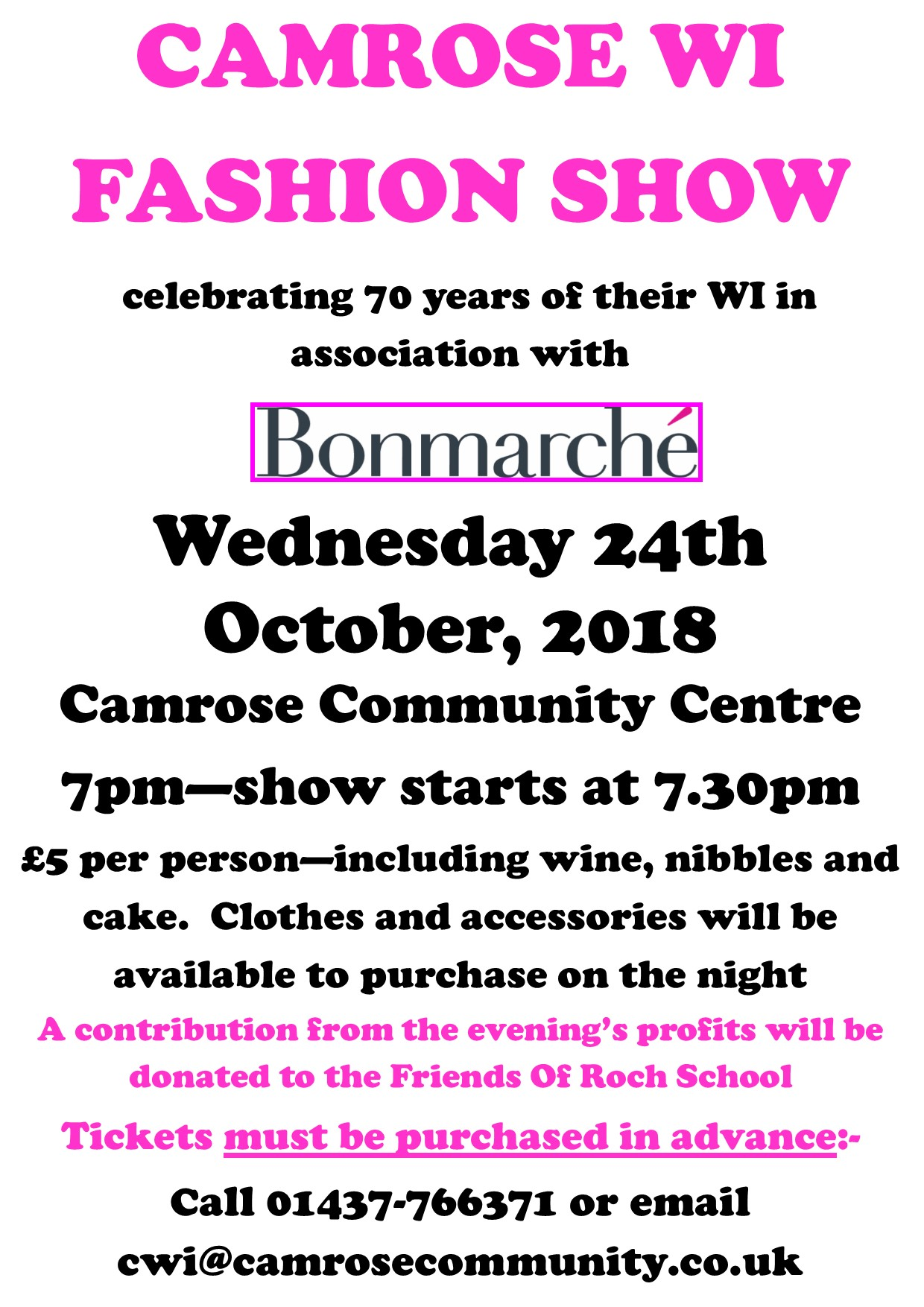 Wednesday 24th October - Camrose WI&Bon Marche Fashion Show